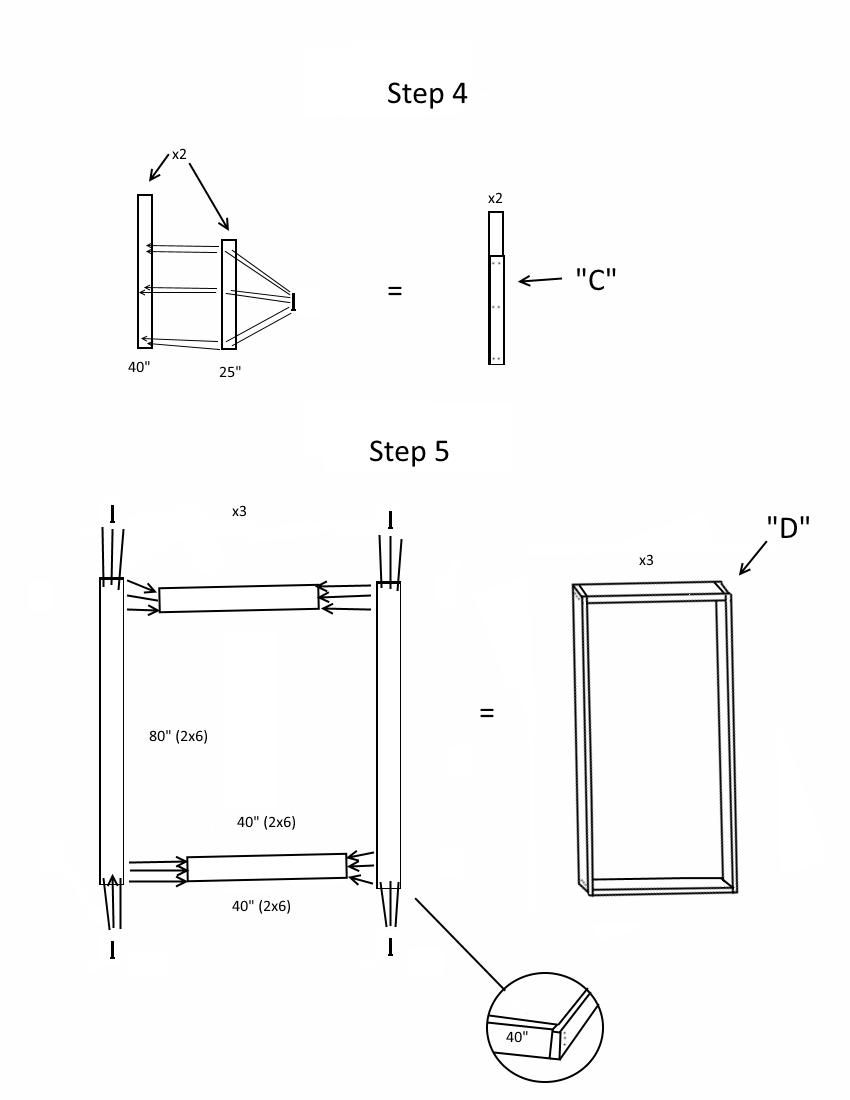 Triple bunk bed plans page 3, steps 4-5