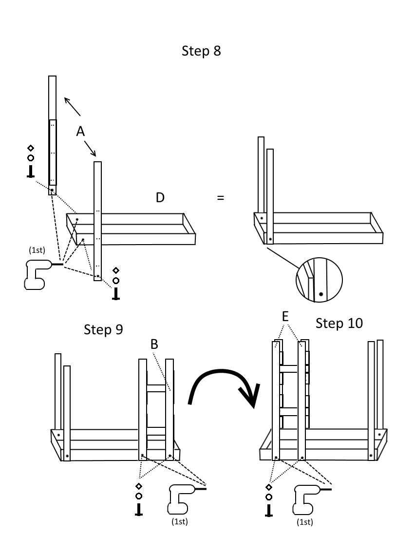 Triple bunk bed plans page 5, steps 8-10