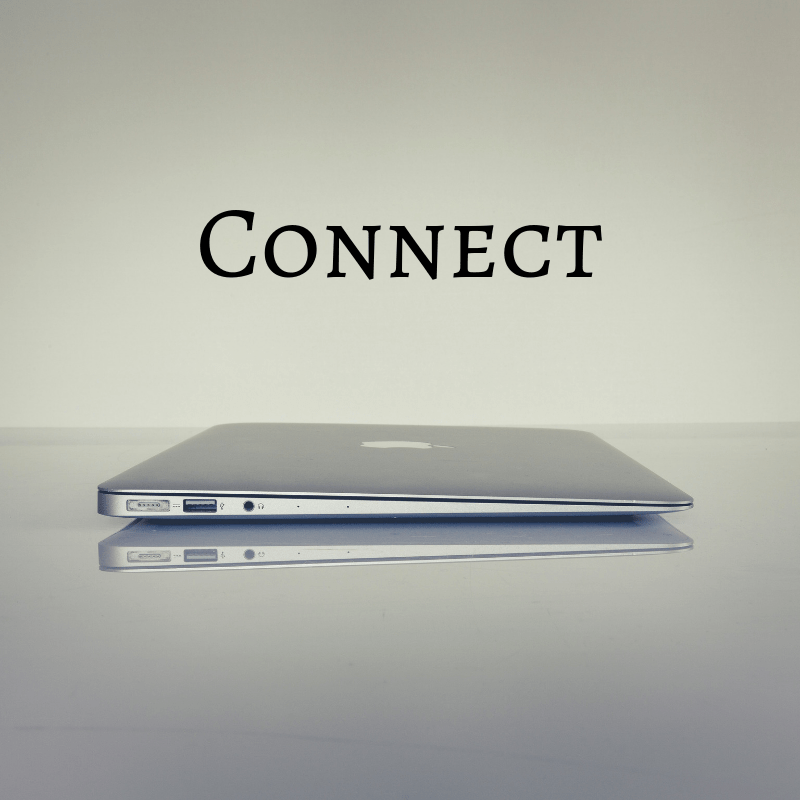 laptop with text connect