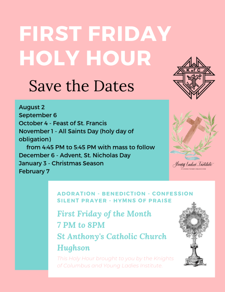 Friday Friday Holy Hour flier with dates and description