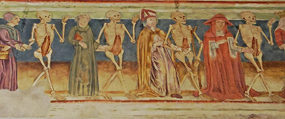 Painting of Danse Macabre 2, a medieval theme set in fall months