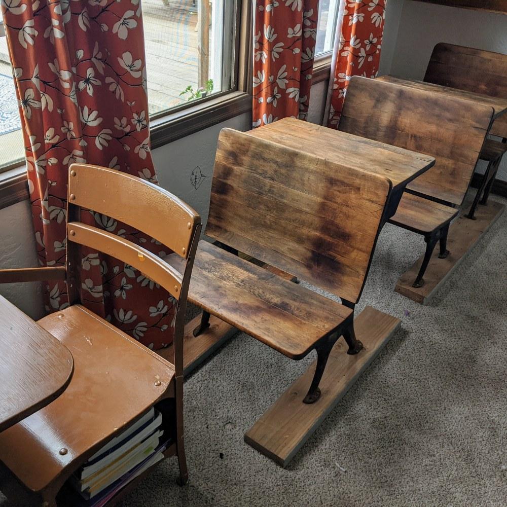 Photo of antique desks in a homeschool room