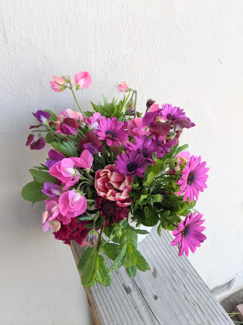 Pink and purple early spring bouquet
