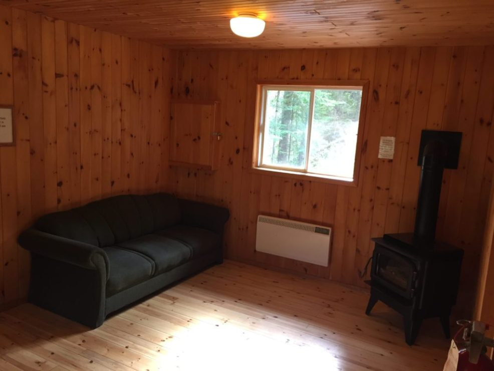 living room in cabin at bonnechere