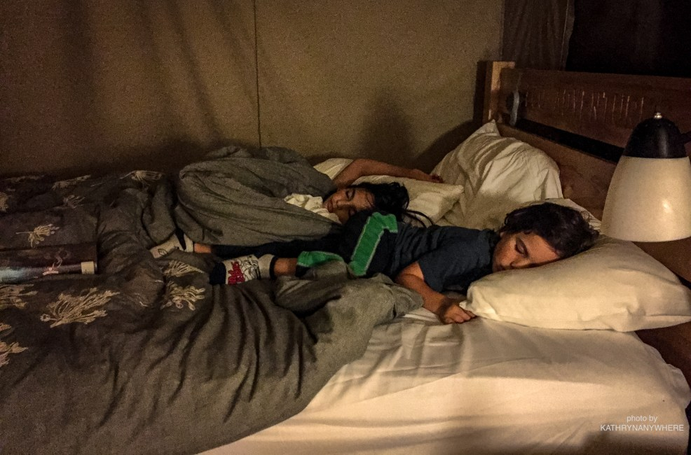 Luxury Family Glamping Ontario, sleeping children