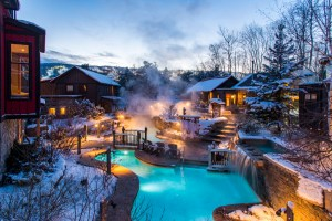 Scandinave Spa, Blue Mountain in winter in the evening #spaday #spanight #scandinaviespa #rejuvinate #relax #discoverontario #ontariospa #spasofontario #yourstodiscover