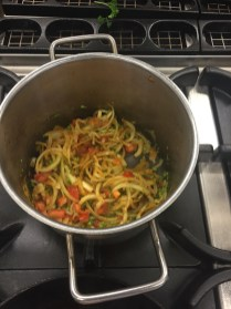 Sautéing the vegetables
