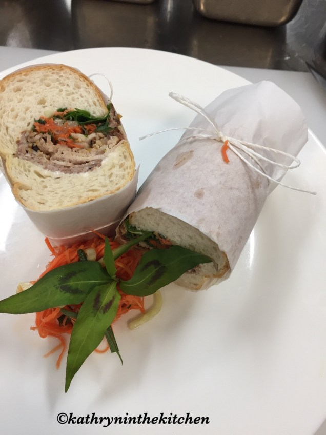 Lemongrass Pork Roll with Vietnamese mint and picked vegetables