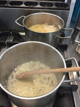 The 'raft' on the back burner and risotto in making on the front.