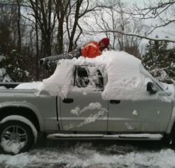 boy on a snowy truck