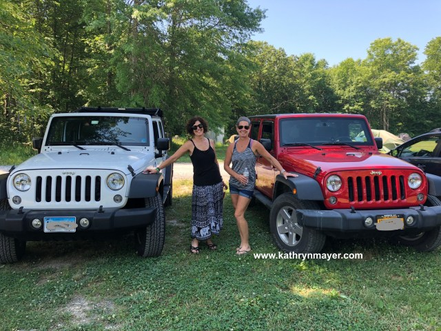 Midlife women drive jeeps