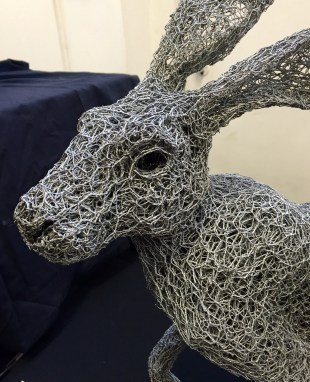 Hare in galvanised wire by Kendra Haste