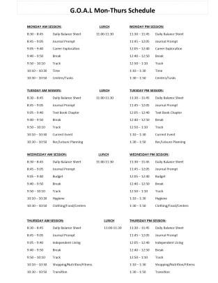 GOAL Schedule
