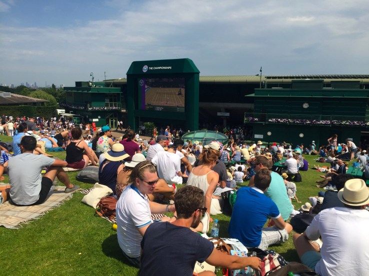 At Henman Hill watching what's happening at centre court.