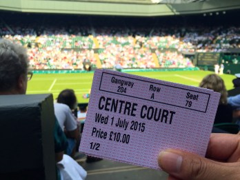 Finally inside centre court after another 2 hours of queueing. A tough lot, we are.