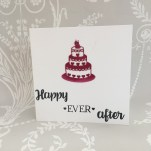 Card made using the Dovecraft wedding cake die and Dovecraft stamp