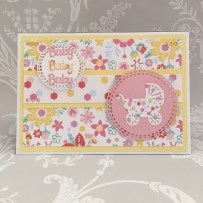 Card made using the Dovecraft baby die