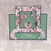 Card made using the Dovecraft Peacock die