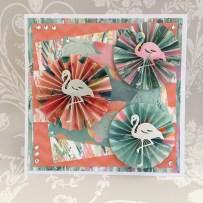 Pinwheel card made using the Dovecraft flamingo die