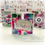 Card made with Wild Flower papers and a Dovecraft large sentiment stamp