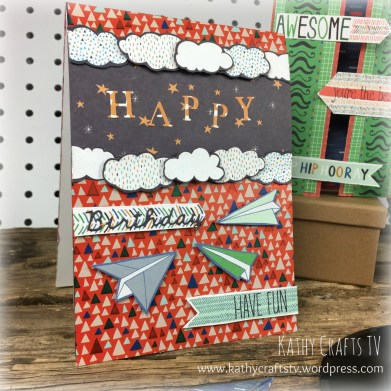 Handmade card made using Grand Plans paper from Trimcraft
