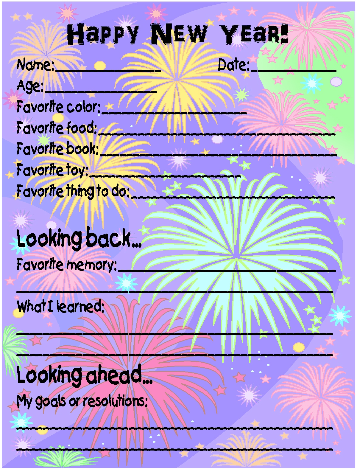 Printable New Year S Eve Survey And Homemade Toasting