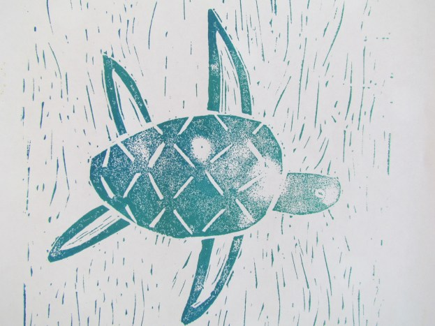 Beautiful line work in the background shouldn't be underestimated. By making the most of this often forgotten area, Mary has given a powerful indication of moving water surounding the her turtle.