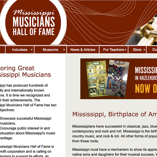 Website Design for Mississippi Musicians Hall of Fame