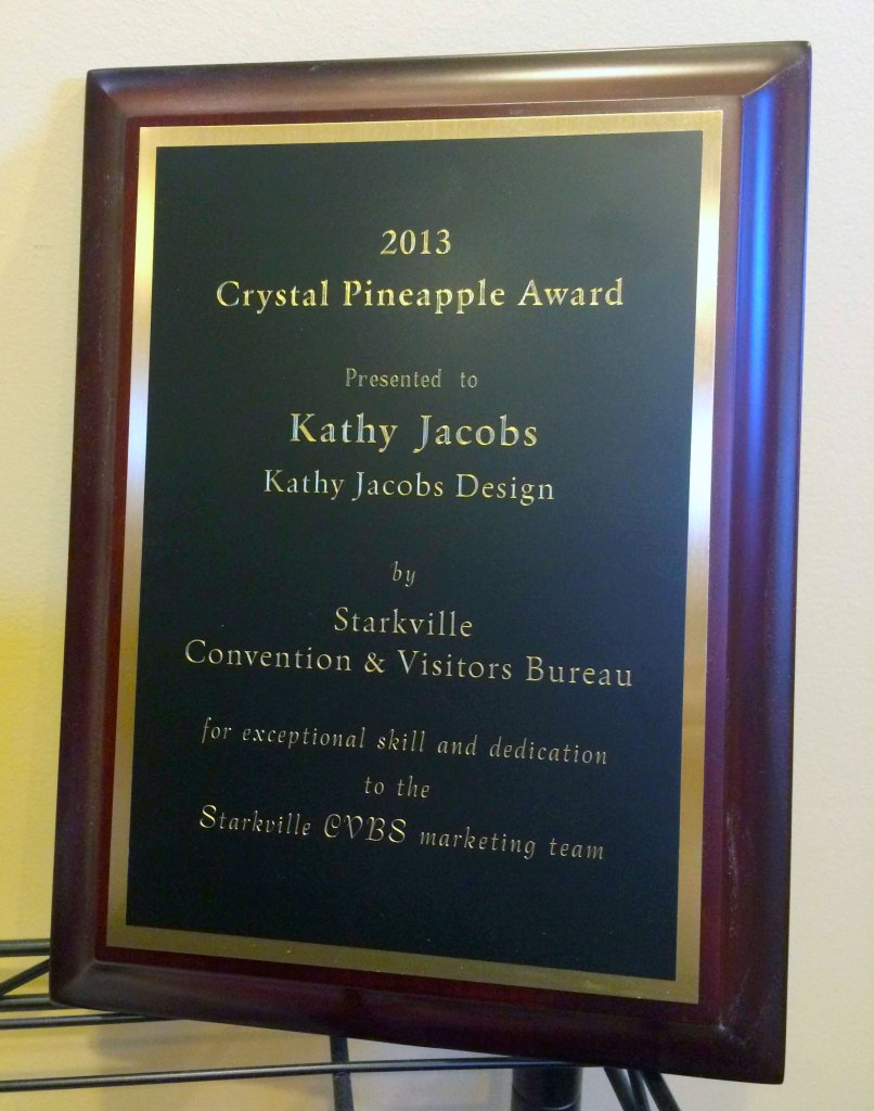 Crystal Pineapple Award Plaque for Kathy Jacobs Design & Marketing