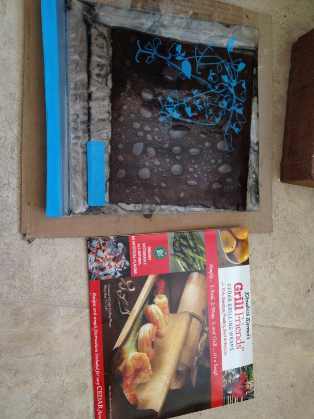 Staining cedar grill wrap