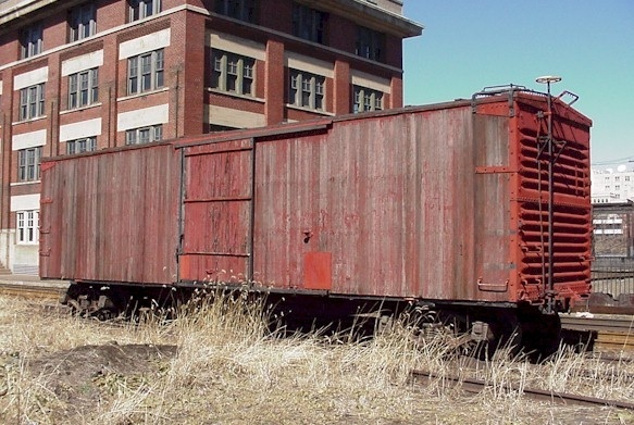 Old wood box car