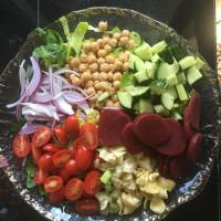 Greek Salad Veganized and Fat Free with Fat Free Creamy Greek Dressing