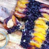 Cornbread Upside-Down Cake With Nectarines & Blueberries