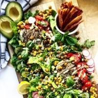Za'atar Chicken & Basil Green Goddess Summer Salad Board