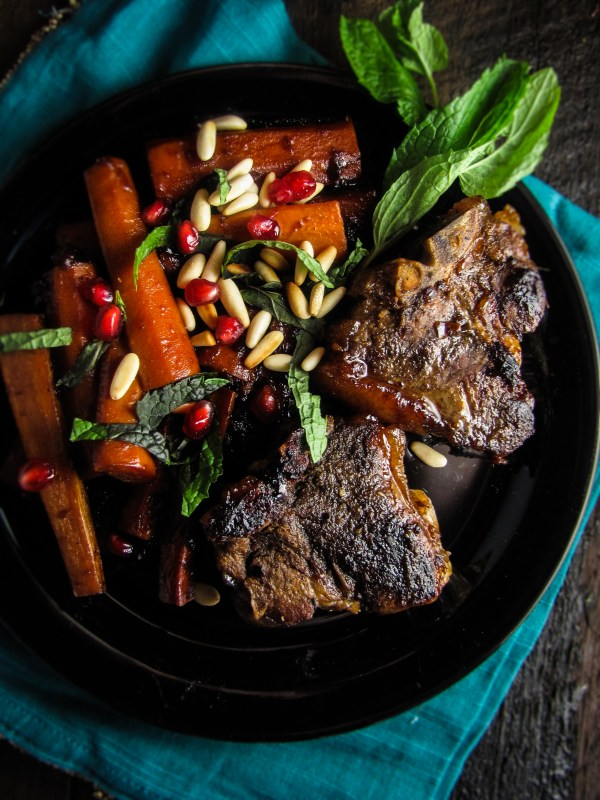 Pomegranate-Glazed Lamb Chops and Carrots {Katie at the Kitchen Door}