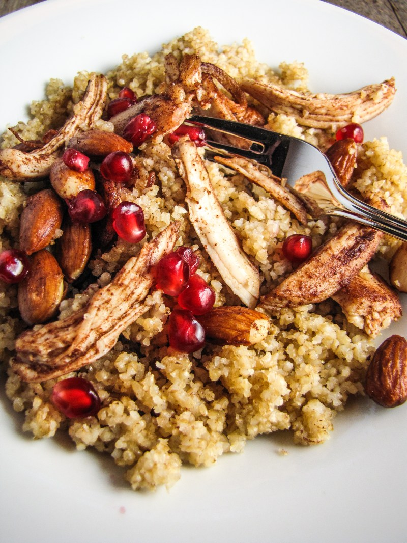 Bulghur with Butter-and-Cinnamon-Roasted Chicken and Almonds {Katie at the Kitchen Door}