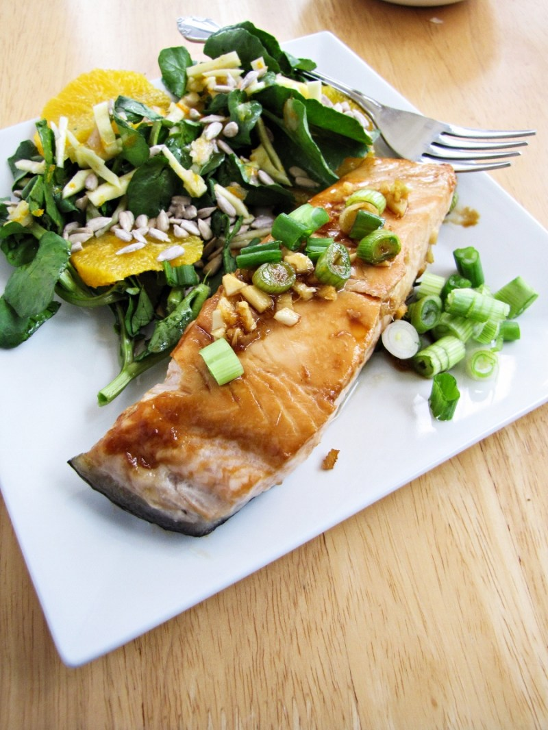 Maple and Soy Salmon with Watercress and Orange Salad (from Blue Apron Meals)