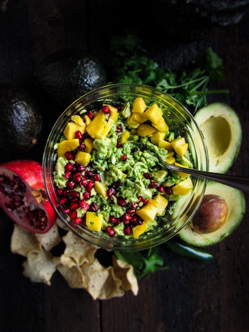 Mango-Pomegranate Guacamole {Katie at the Kitchen Door}