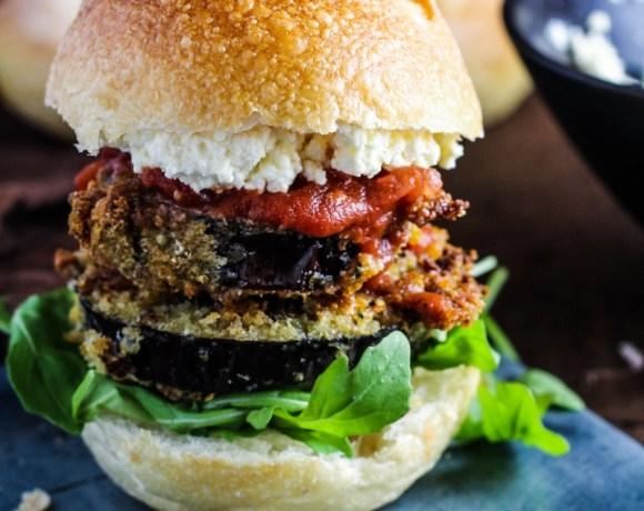Book Club: The Southern Vegetarian // Crispy Eggplant Sandwiches with Roasted Garlic Ricotta Spread