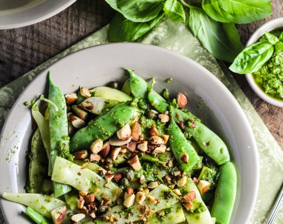 Green Bean Farfalle with Pesto, Capers, and Almonds