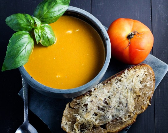 Spicy Fresh Tomato-Basil Soup with Caraway-Cheese Toasts