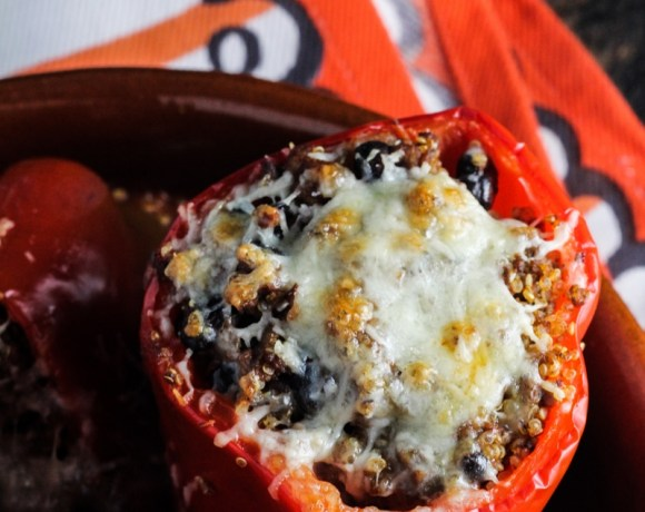 Stuffed Peppers with Black Beans, Quinoa, Beef, and Chipotle Sauce