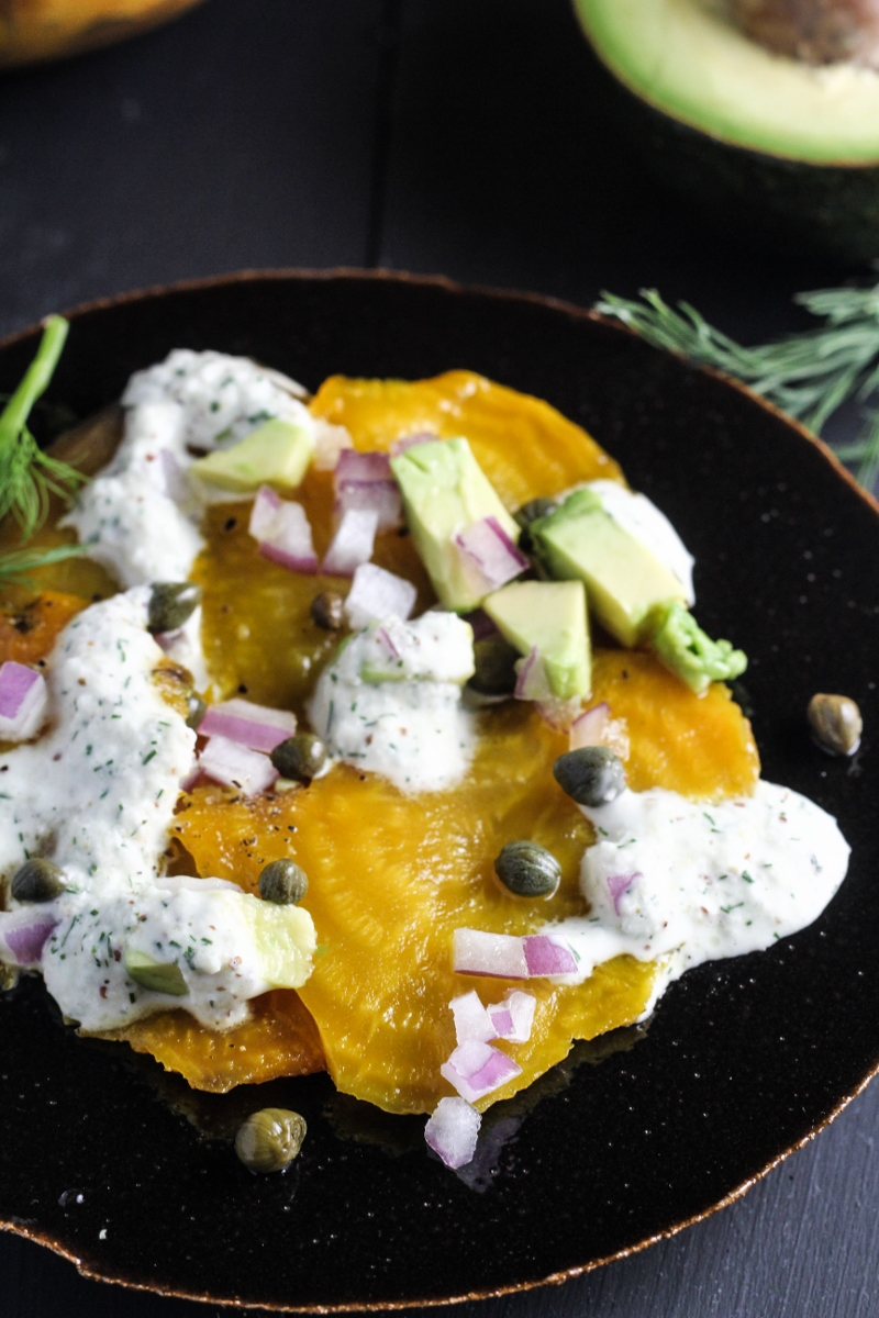 Salt-Roasted Golden Beets with Dill, Avocado, and Capers {Katie at the Kitchen Door}