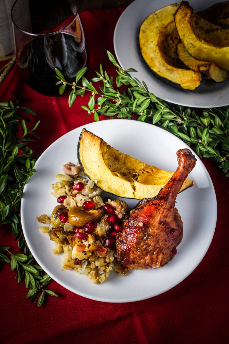 Rum-and-Pomegranate Glazed Christmas Duck with Boozy Chestnut-Apple Stuffing #CaptainsTable #Christmas