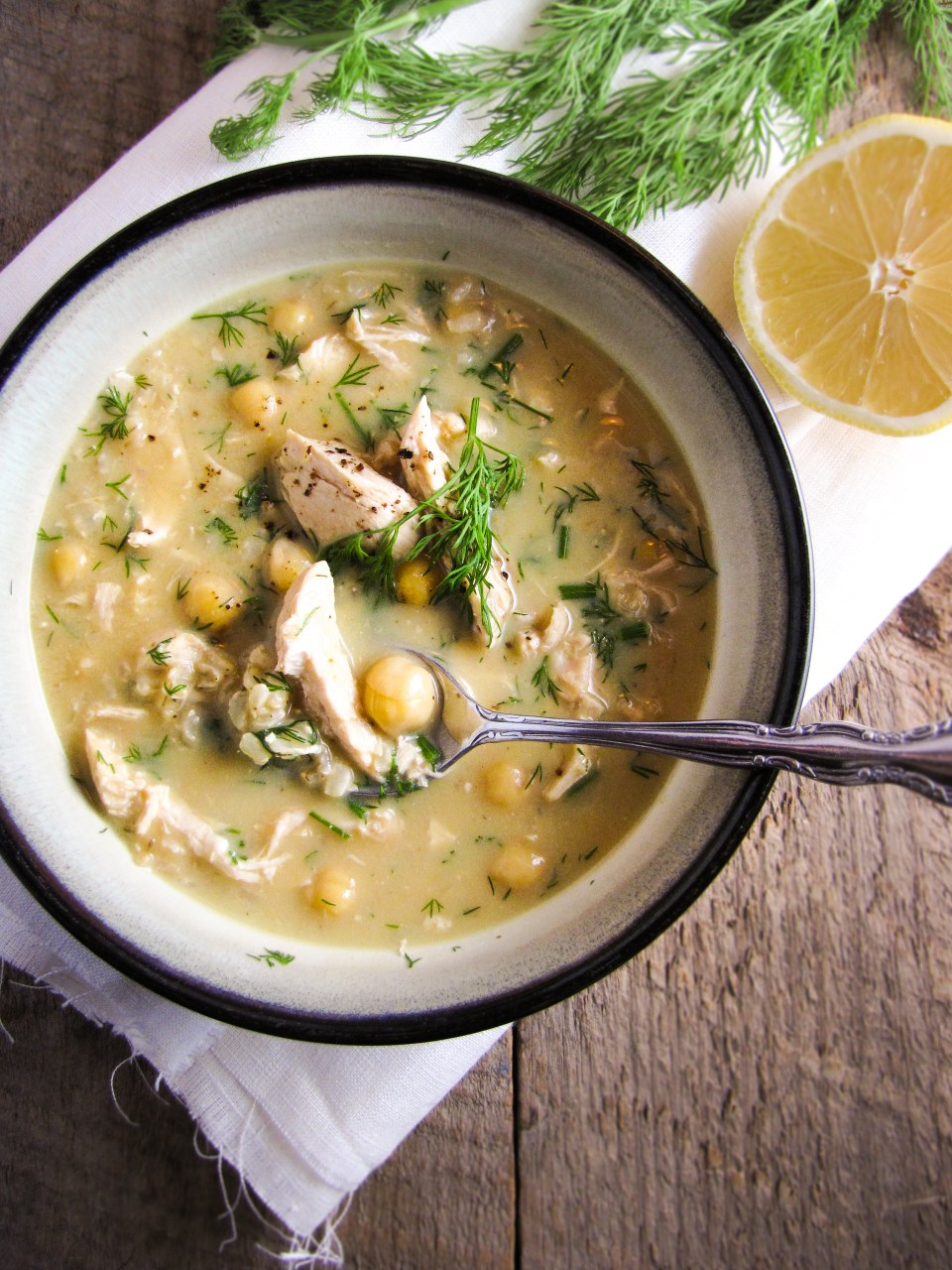 Healthy Winter Recipes - Greek Egg and Lemon Soup with Brown Rice, Chicken, and Chickpeas