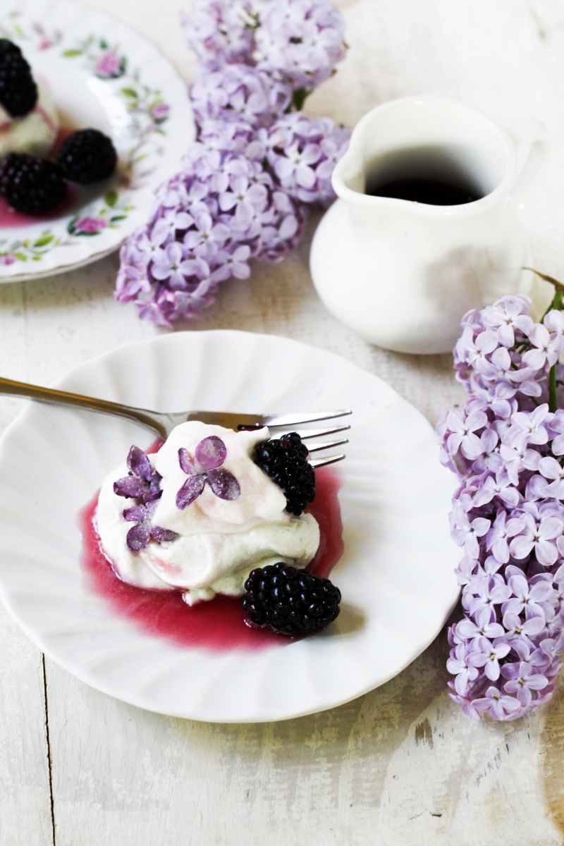 13 Recipes for Spring - Lilac and Blackberry Pavlova {Katie at the Kitchen Door}