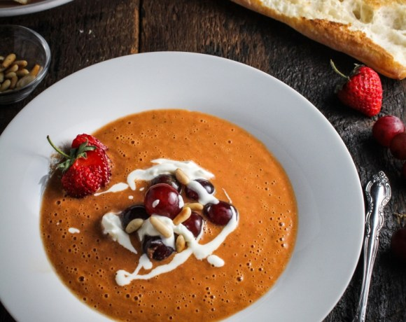 Ingredient of the Week: Strawberries // Strawberry Gazpacho with Grapes and Goat Cheese