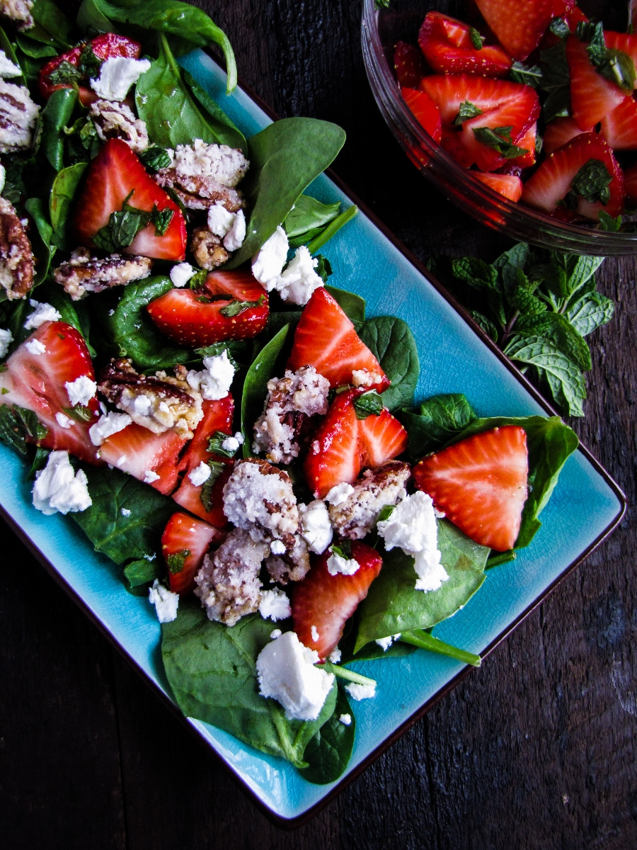 Strawberry Balsamic Salad with Goat Cheese and Candied Pecans {Katie at the Kitchen Door}