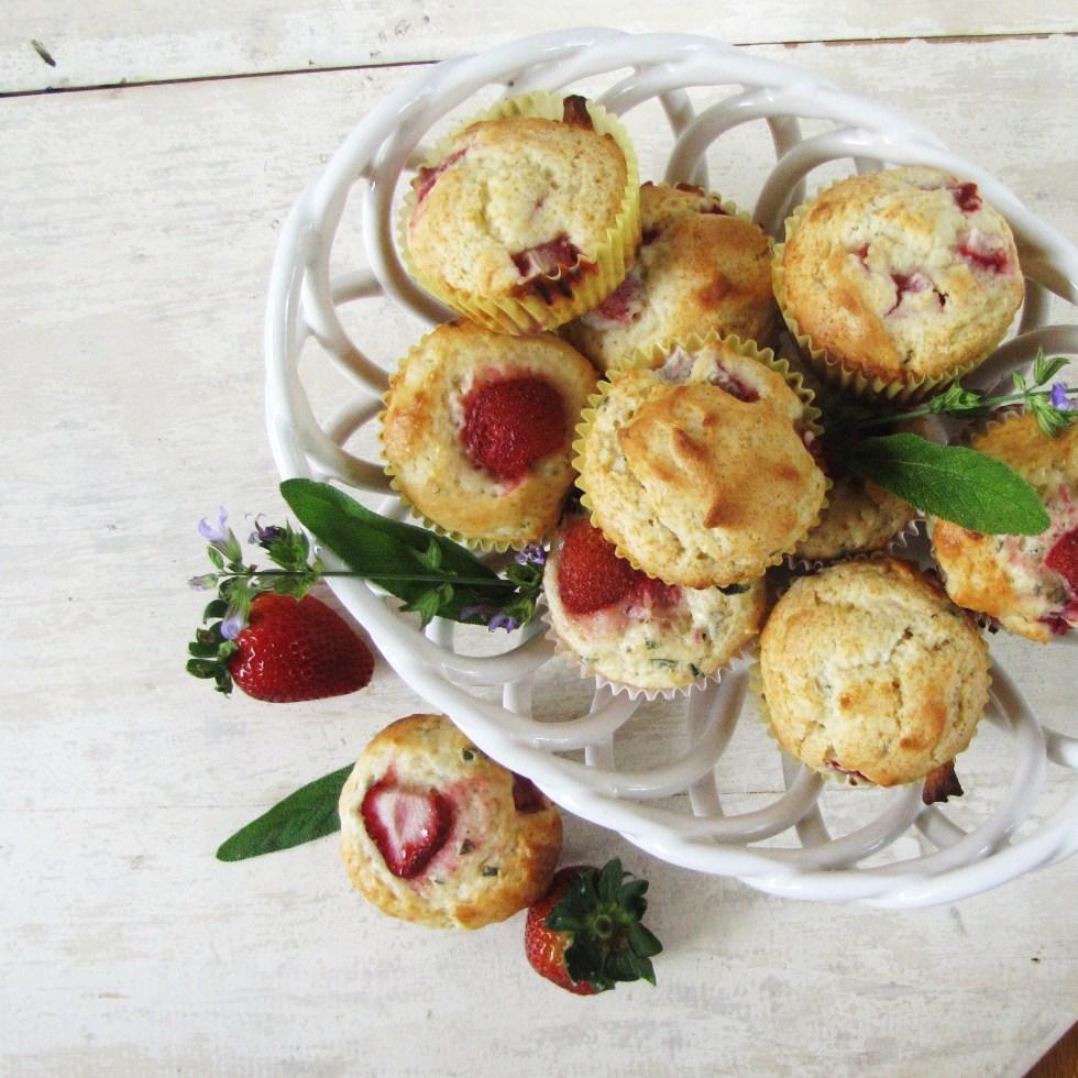 Strawberry Sage Muffins {Katie at the Kitchen Door}