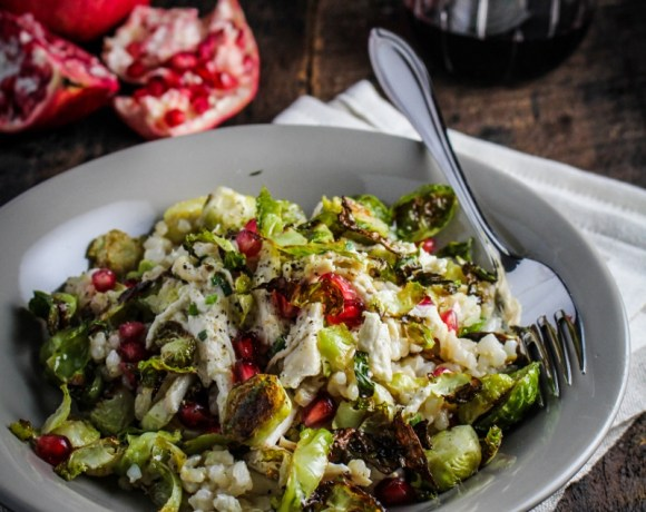 Monthly Fitness Goals: November // Crispy Brussels Sprout, Lemon Chicken, and Pomegranate Rice Bowl